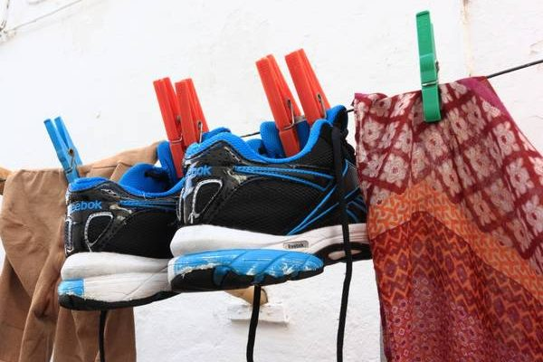 Wash running shoes