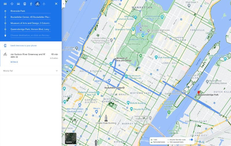Lookout For Long Green Lines On Map ( It Represent dedicated bicycle lane )